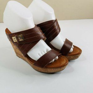 Tommy Hilfiger Brown Wedge Mules Size 7.5 M